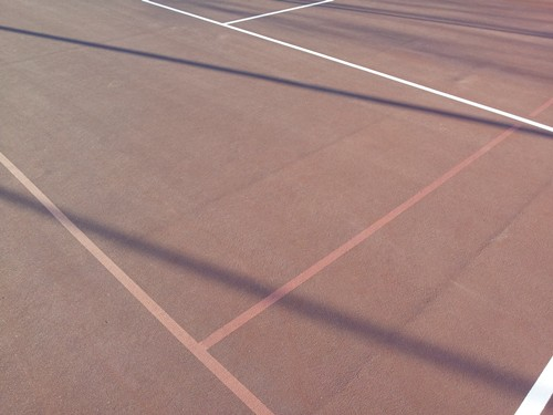 60' blended lines on a 78' tennis court using a light blue on dark blue color scheme. It is recommen