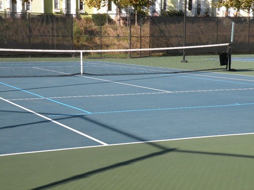 "60' blended lines on a 78' tennis court using light blue on dark blue color scheme. Note the 3"" sepa"