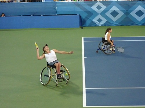 Action from the doubles final