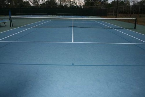 36' blended lines on a 78' tennis court using a dark blue on light blue color scheme.