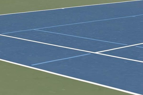 36' and 60' blended lines on a 78' tennis court using a light blue on dark blue color scheme.