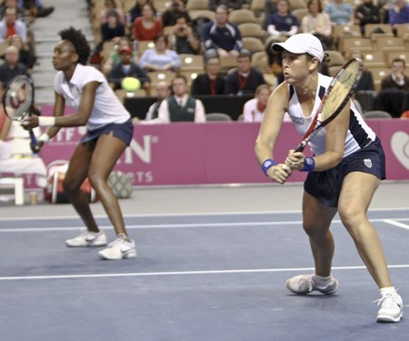 2012 Fed Cup USA vs. BelarusDarya Kustova in action during the 2012 Fed Cup tie break between the US