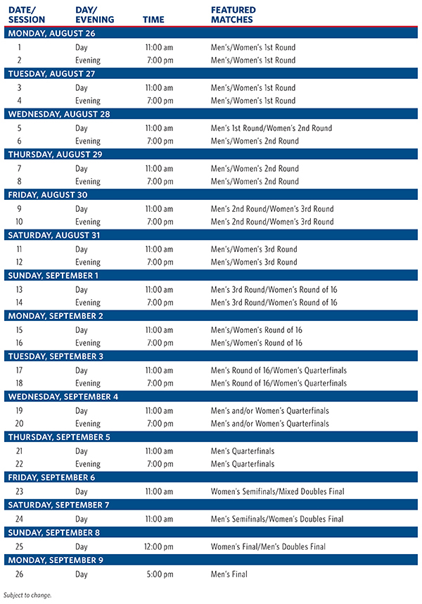 Us Open Schedule 2013