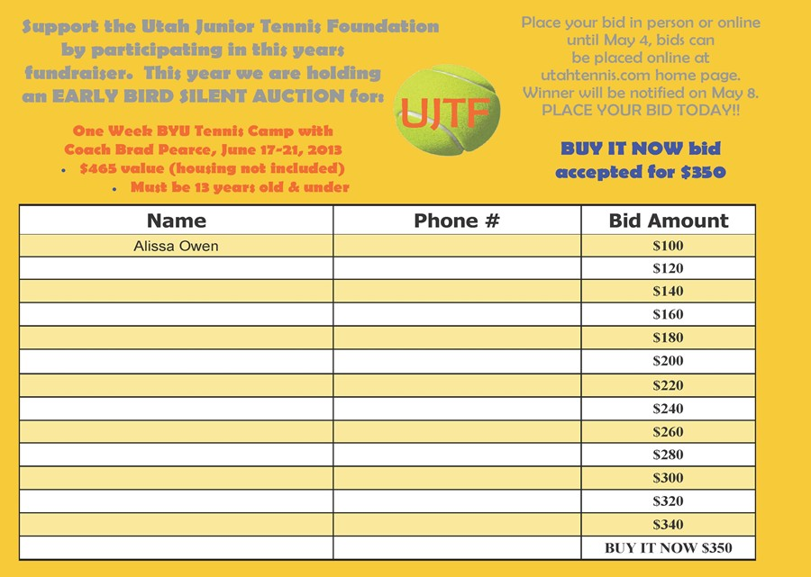 Related Pictures silent auction bid sheet all bids by mail